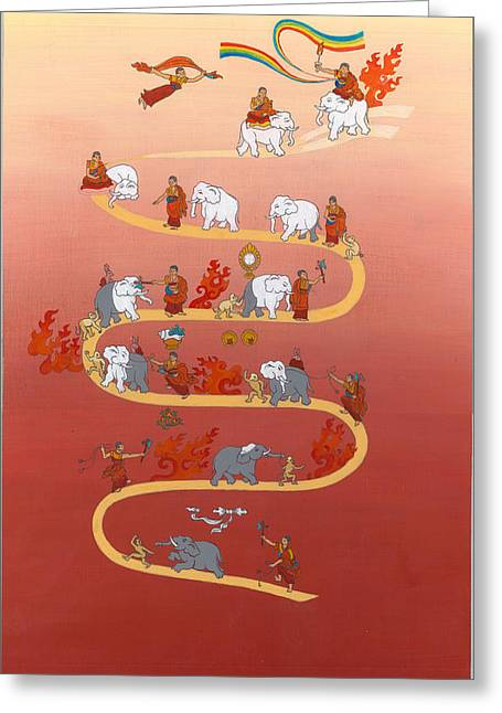 Tibetan Buddhism Greeting Cards - The way of the white elephant the way to meditation Greeting Card by Berty Sieverding