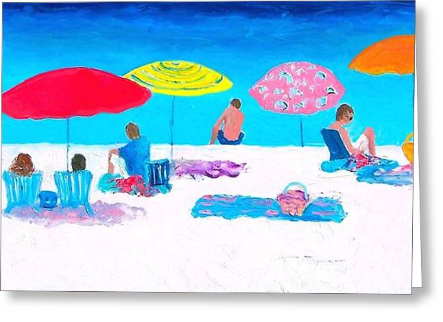 Beach Towel Greeting Cards - The weather is sweet Greeting Card by Jan Matson