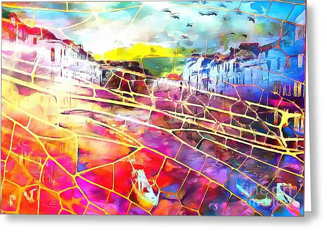 Print On Canvas Greeting Cards - The Web In Italian Greeting Card by Catherine Lott