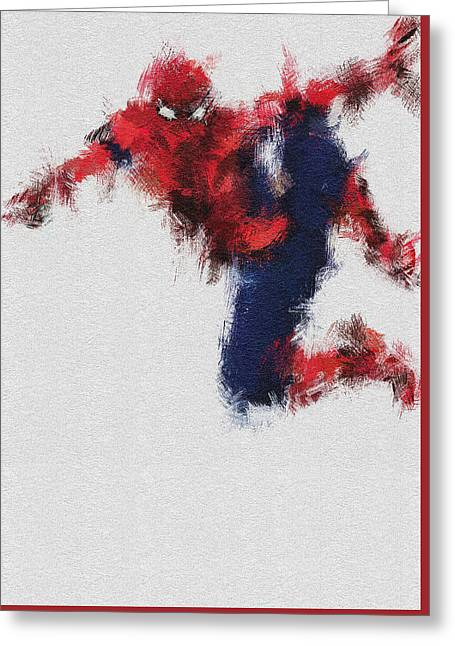Spider-man Greeting Cards - The Web Greeting Card by Miranda Sether