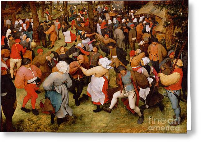 Happy Greeting Cards - The Wedding Dance Greeting Card by Pieter the Elder Bruegel