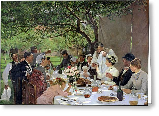 The Wedding Meal At Yport, 1886 Greeting Card by Albert-Auguste Fourie