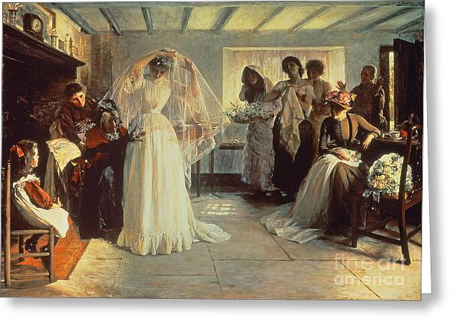 Bridal Gown Greeting Cards - The Wedding Morning Greeting Card by John Henry Frederick Bacon