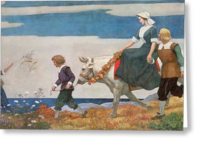 The Wedding Procession Greeting Card by Newell Convers Wyeth