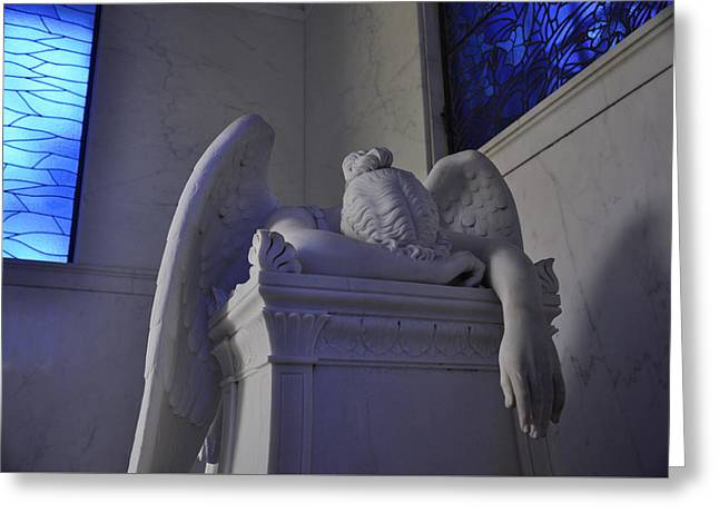 Weeping Greeting Cards - The Weeping Angel Metairie Cemetery New Orleans Greeting Card by Braden Moran