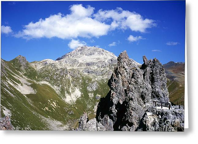 Graubunden Greeting Cards - The Weissfluh at the head of the Haupter Talli Davos Graubunden Switzerland Greeting Card by Michael Walters