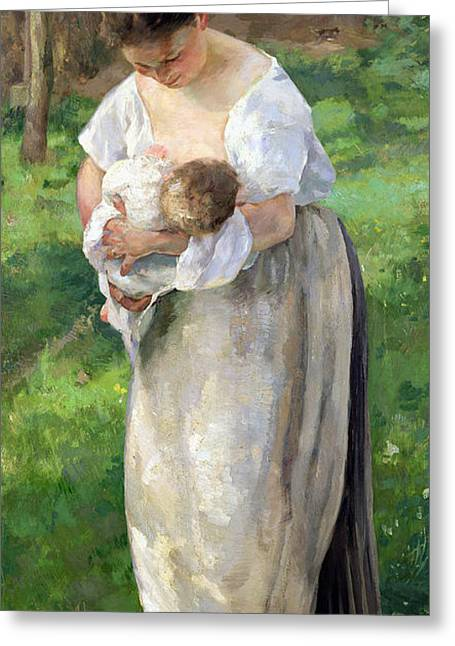Caring Mother Paintings Greeting Cards - The Wet Nurse Greeting Card by Alfred Roll