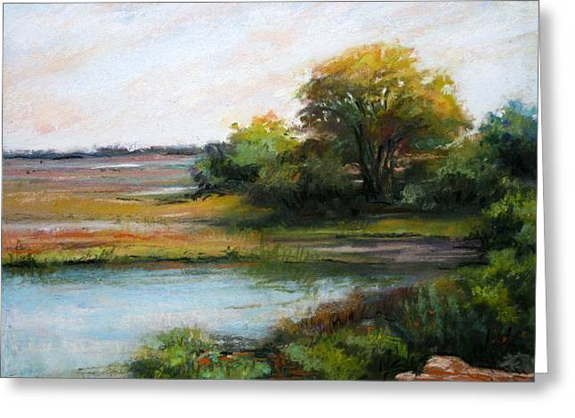 Wetlands Pastels Greeting Cards - The Wetlands Greeting Card by Estelle Schwarz