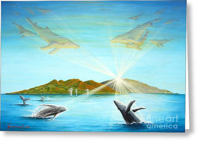 Snorkel Greeting Cards - The Whales Of Maui Greeting Card by Jerome Stumphauzer