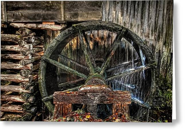 Grist Mill Greeting Cards - The Wheel Goes Around Greeting Card by Dave Bosse
