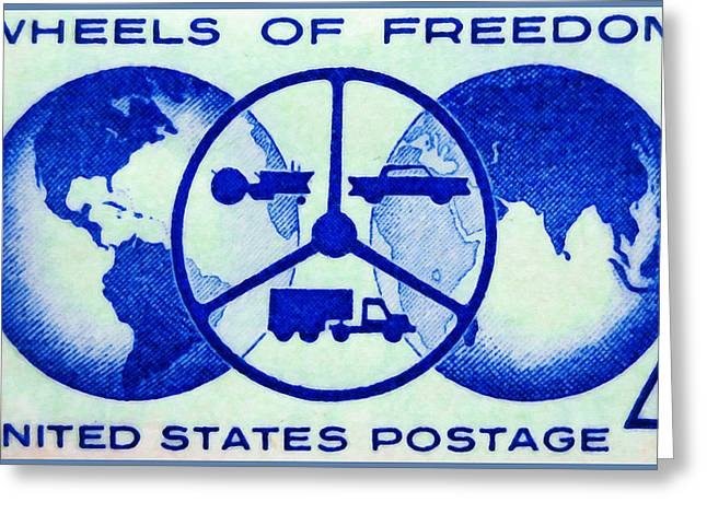 The Wheels Of Freedom Stamp Greeting Card by Lanjee Chee