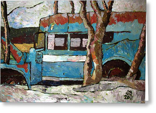 Pull Paintings Greeting Cards - The Wheels Of The Bus Stopped Greeting Card by Charlie Spear