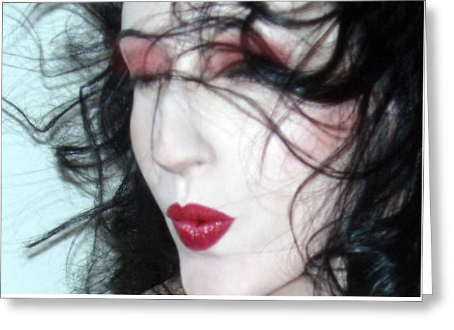 Self-portrait Photographs Greeting Cards - The Whisper Kiss - Self Portrait Greeting Card by Jaeda DeWalt