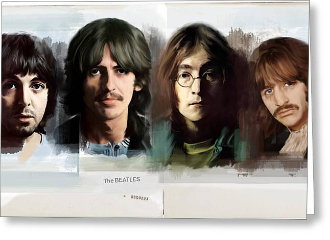 Apple Records Greeting Cards - The White Album  The Beatles  Greeting Card by Iconic Images Art Gallery David Pucciarelli