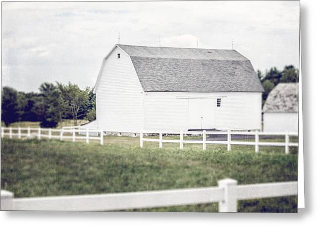 White Barns Greeting Cards - The White Barn Greeting Card by Lisa Russo