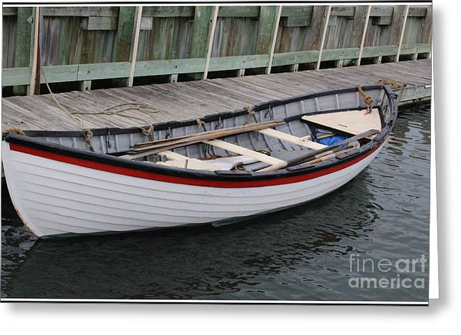Aquatic Greeting Cards - The White Boat at Greenport Harbor Greeting Card by  Photographic Art and Design by Dora Sofia Caputo