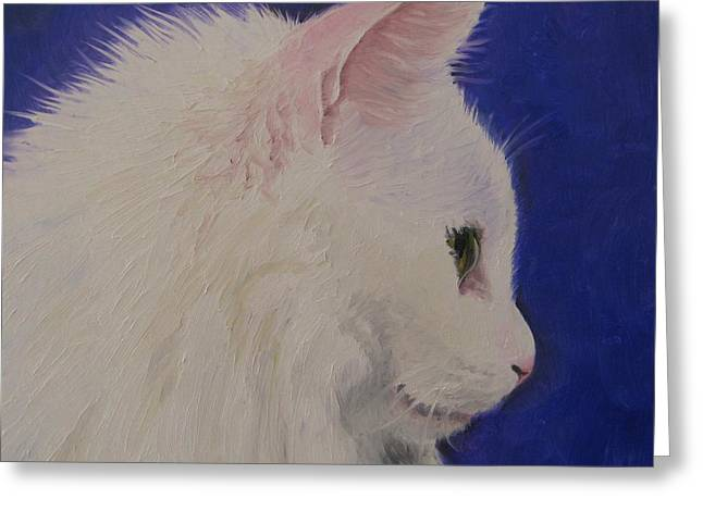 Noewi Greeting Cards - The White Cat Greeting Card by Jindra Noewi