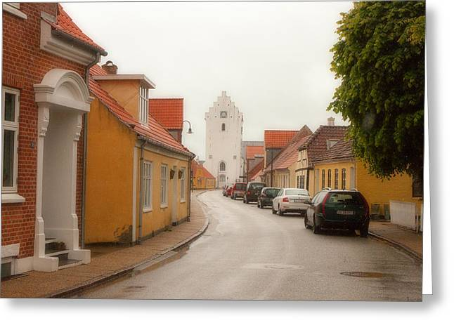 Saeby Greeting Cards - The White Church Saeby Denmark Greeting Card by John Garbarino