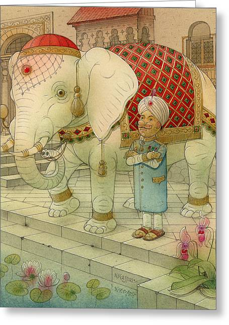 White Drawings Greeting Cards - The White Elephant 05 Greeting Card by Kestutis Kasparavicius