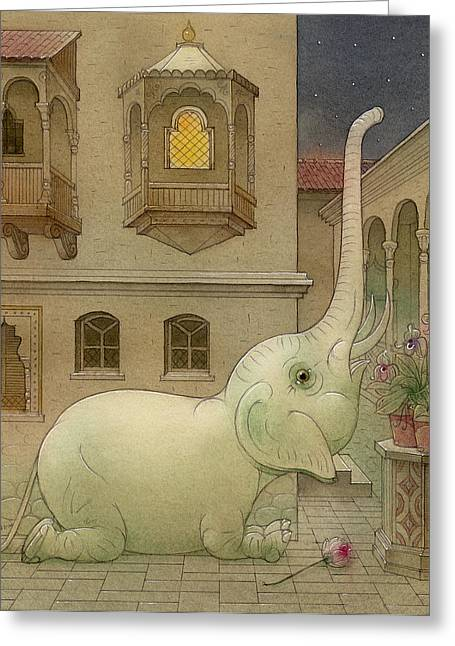 White Drawings Greeting Cards - The White Elephant 09 Greeting Card by Kestutis Kasparavicius