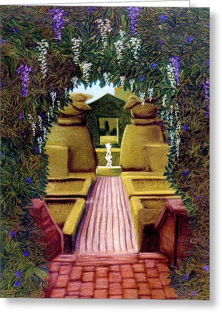 Brick Pastels Greeting Cards - The White Fountain Greeting Card by Jan Amiss