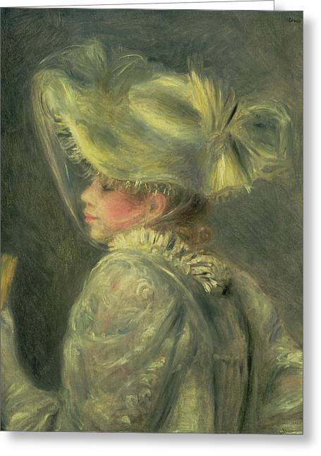 The White Hat Greeting Card by Pierre Auguste Renoir