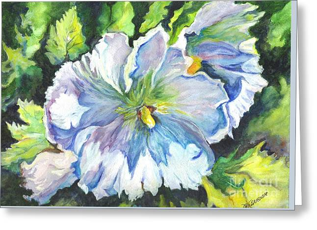 Florida Flowers Drawings Greeting Cards - The White Hibiscus in Early Morning Light Greeting Card by Carol Wisniewski