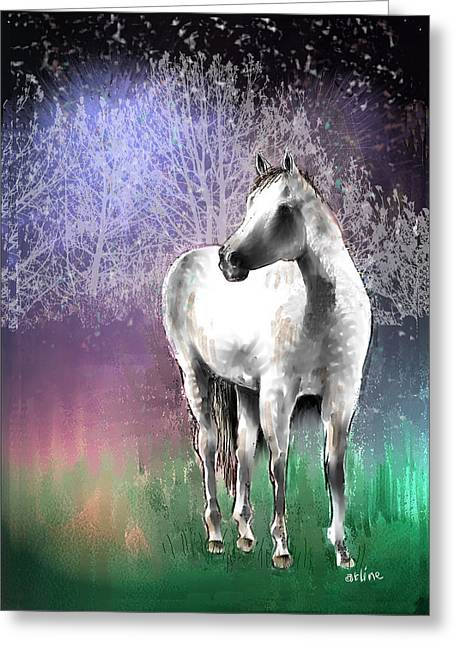 White Stallion Greeting Cards - The White Horse Greeting Card by Arline Wagner