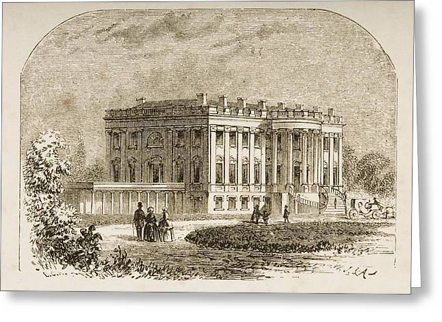 President Of America Drawings Greeting Cards - The White House Washington Dc In 1870s Greeting Card by Ken Welsh