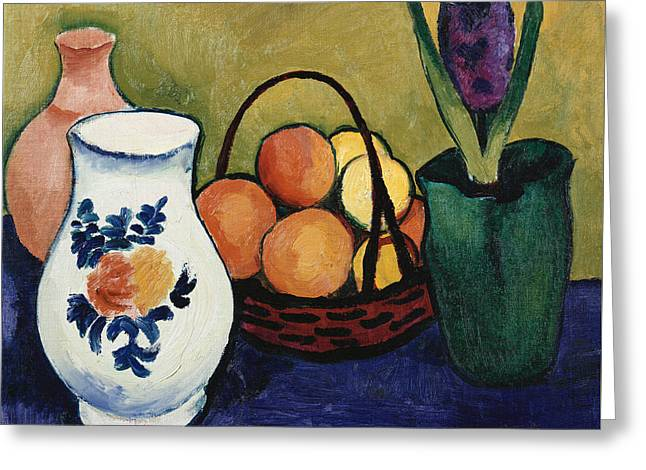 Tasteful Art Greeting Cards - The White Jug with Flower and Fruit Greeting Card by August Macke