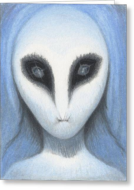 Atc Greeting Cards - The White Owl Greeting Card by Amy S Turner