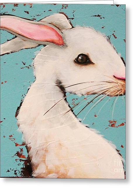 Alice Greeting Cards - The White Rabbit Greeting Card by Lucia Stewart