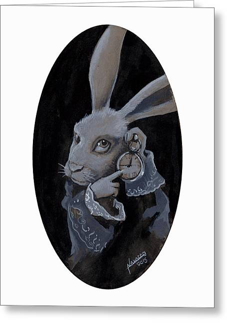 Old Tale Greeting Cards - The White Rabbit Greeting Card by Luis  Navarro