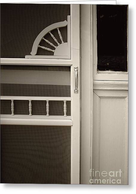 Screen Doors Greeting Cards - The White Screen Door Greeting Card by Margie Hurwich