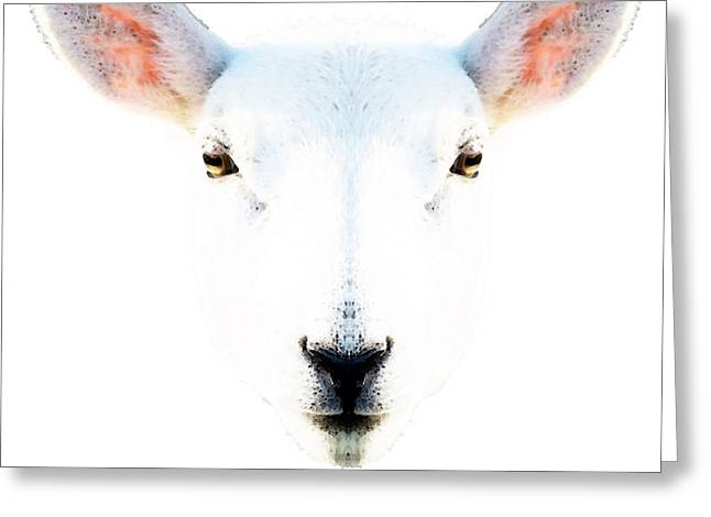 Sheep Paintings Greeting Cards - The White Sheep By Sharon Cummings Greeting Card by Sharon Cummings