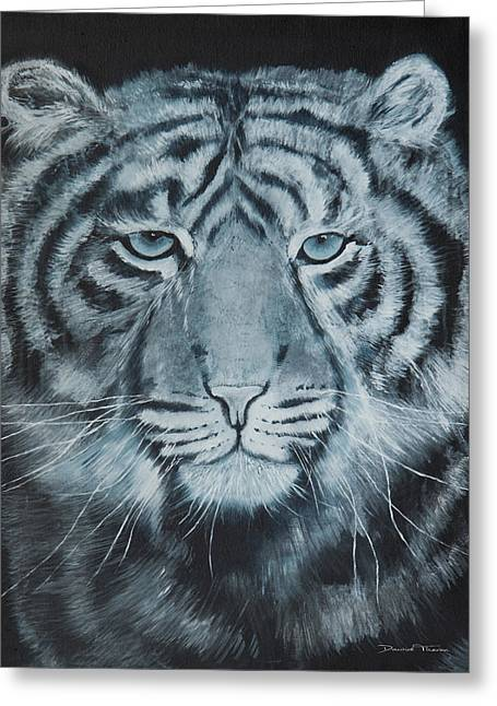 Dawid Greeting Cards - The White Tiger Greeting Card by Dawid Theron