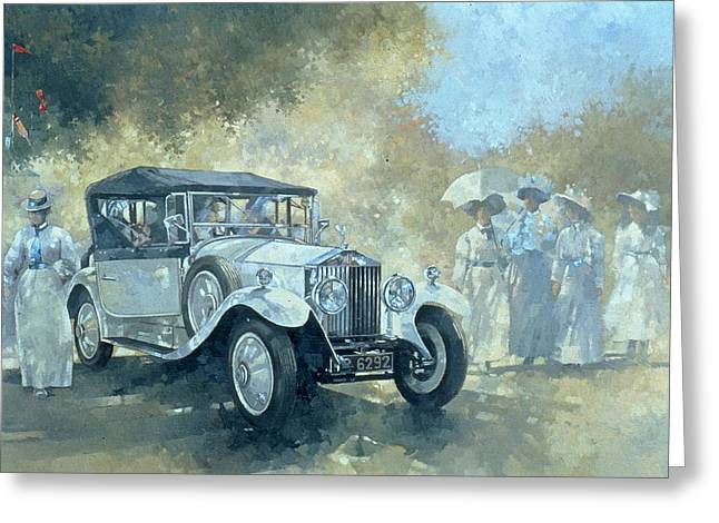 Stylish Car Greeting Cards - The White Tourer Greeting Card by Peter Miller