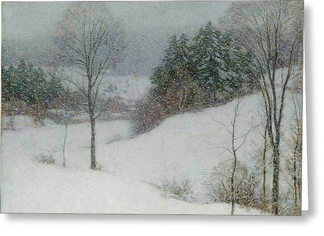 The White Veil Greeting Card by Willard Leroy Metcalf