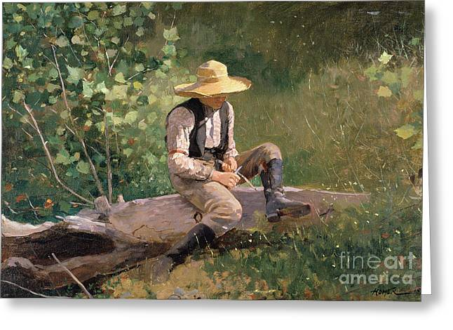 Straw Greeting Cards - The Whittling Boy Greeting Card by Winslow Homer
