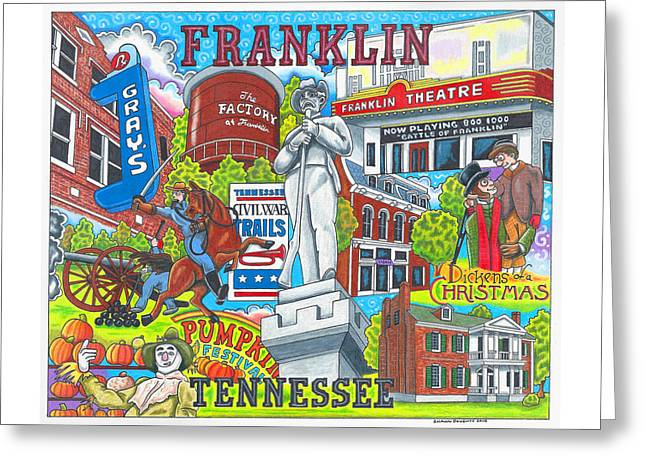 The Who, What And Where Of Franklin, Tennessee Greeting Card by Shawn Doughty