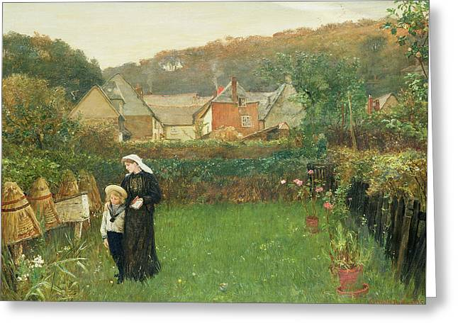 Honey Bee Greeting Cards - The Widow Greeting Card by Charles Napier Hemy