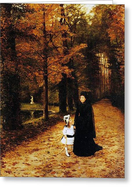 Fallen Leaf Greeting Cards - The Widow Greeting Card by Horace de Callias