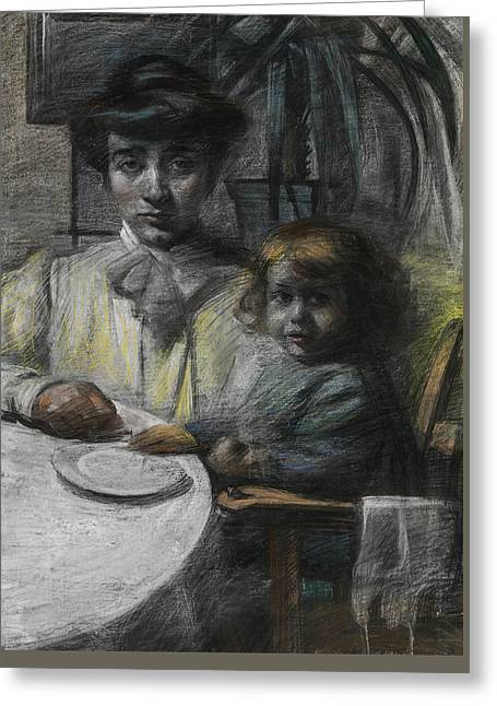 The Wife And Daughter Of Giacomo Balla Greeting Card by Umberto Boccioni