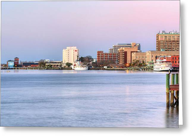 Cape Fear River Greeting Cards - The Wilmington Skyline Greeting Card by JC Findley