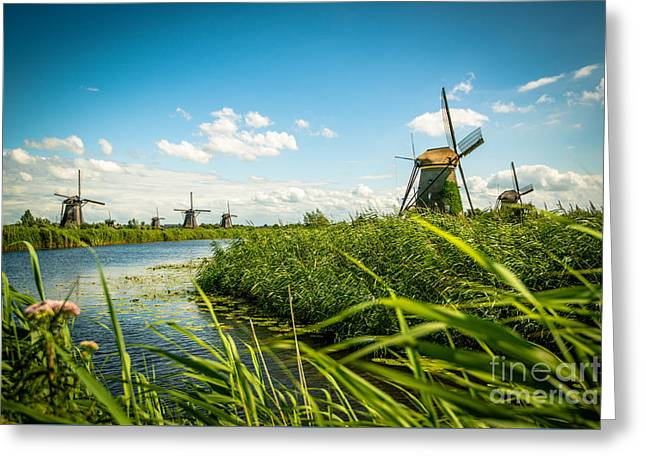 The Wind Mills Of Kinderdjik Greeting Card by Hannes Cmarits