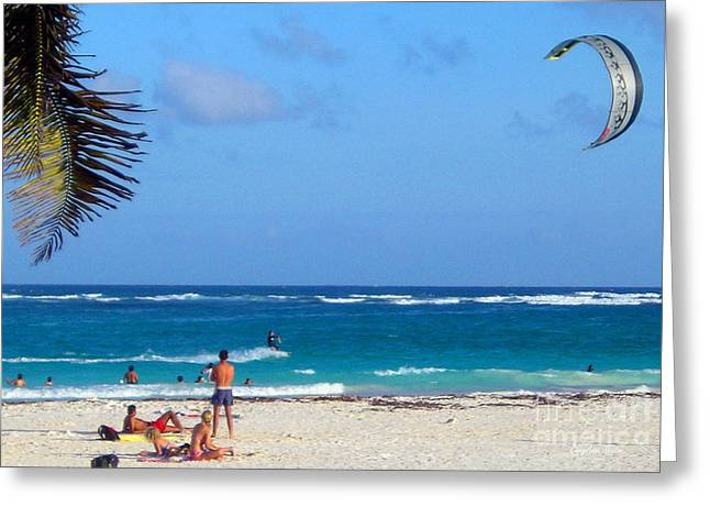 Surfing Photos Greeting Cards - the wind was high in Tulum Greeting Card by CheyAnne Sexton