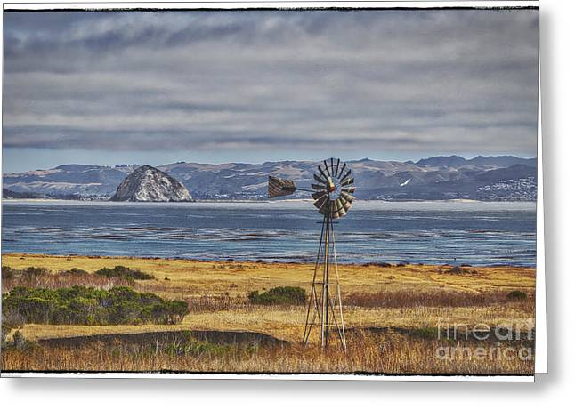 California Ocean Photography Greeting Cards - The Windmill And Morro Bay Greeting Card by Mitch Shindelbower