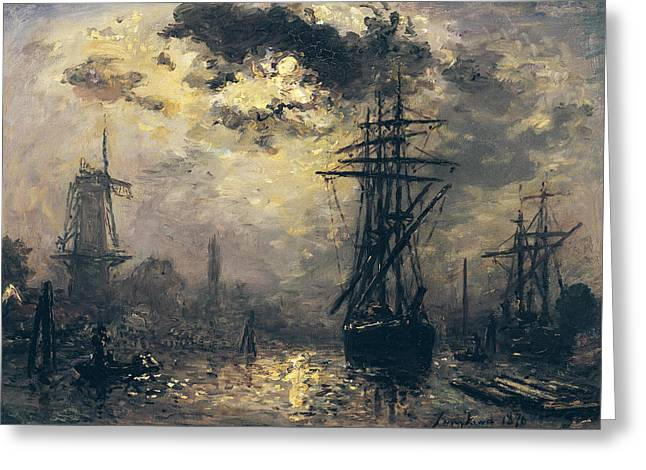 Boats In Harbor Greeting Cards - The Windmills in Rotterdam Greeting Card by Johan Barthold Jongkind