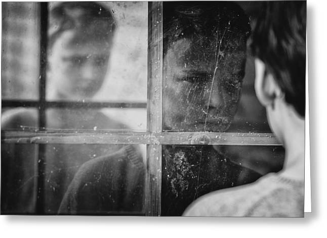 The Window Greeting Card by Mirjam Delrue