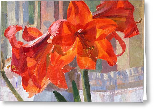 Victoria Greeting Cards - The window Greeting Card by Victoria Kharchenko